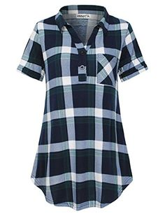 b5fc7919 Drisun Women's Henley V Neck Blouse Short Sleeve Tops Plaid Tunic Shirt  Black