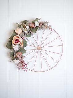 Minimalist Bicycle Hoop Wreath - in Blush Wreath Crafts, Diy Wreath, Decor Crafts, Home Crafts, Fun Crafts, Silk Flower Wreaths, Bicycle Wedding, Modern Flower Arrangements, Floral Hoops