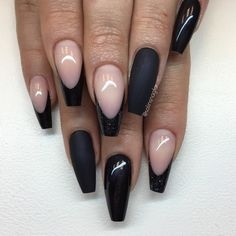 73 coffin nails to die for - style easily Coffin Nails Matte, Dark Nails, Gold Nails, Black Nail Designs, Colorful Nail Designs, Pretty Nail Colors, Pretty Nails, French Nails, Hair And Nails
