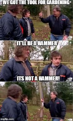 Clarkson's gardening logic, you may have seen this from Top Ground Gear Force. Funny Car Memes, Car Humor, Hilarious, Top Gear Funny, Clarkson Hammond May, Jeremy Clarkson, British Humor, Grand Tour, Lol