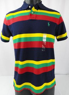 NWT Polo Ralph Lauren M Polo Shirt Mens SS Striped Mesh Blue/Yellow/Red/Green  #PoloRalphLauren #PoloRugby