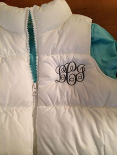Vest and tee purchased at Old Navy for little girl.  Monogrammed in gray to be worn with sparkly gray jeans.