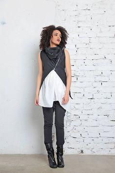 Gothic Top Leather Vest Women Vest Futuristic Clothing