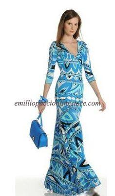 Emilio Pucci Blue Print V-Neck Long Dress For Cheap