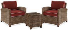 Destin 2 Outdoor Chairs And End Table Set - Sangria