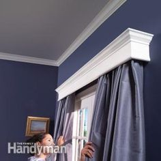 How to Build Window Cornices - Step by Step: The Family Handyman (without the ugly curtains ; Eames Design, Wood Cornice, Wood Valance, Cornice Box, Door Curtains, Shower Curtains, Window Cornices, Window Moulding, Window Trims