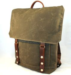 Really want to go on adventures with this. :: Chocolate Herringbone Tall Boy Waxed Canvas Backpack by WoolyBison
