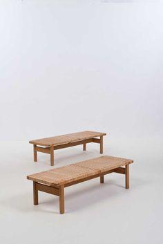 Børge Mogensen; Oak and Cane Coffee Tables for Fredricia Stolefabrik, 1950s.