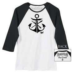 Women's Anchor by Jime Litwalk Paint Brushes Tattoo Baseball T Shirt