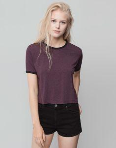 Pull&Bear - mujer - camisetas y tops - camiseta estampado rayas - granate - 09240383-I2015