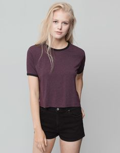 Pull&Bear - woman - t-shirts and tops - multi-striped t-shirt - burgundy - 09240383-I2015