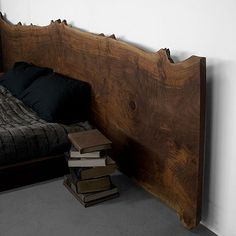 Hardwood slab headboard detail