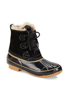 Khombu Faux Fur Lace-Up Boots - Black - Size
