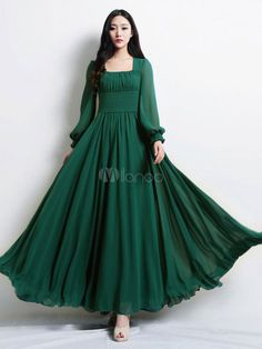 Beautiful Dark Green Square Neck Pleated Chiffon Maxi Dress for Woman - Milanoo. Indian Gowns Dresses, Indian Fashion Dresses, Indian Designer Outfits, Women's Dresses, Designer Dresses, Girls Dresses, Fashion Outfits, Stylish Dress Designs, Stylish Dresses