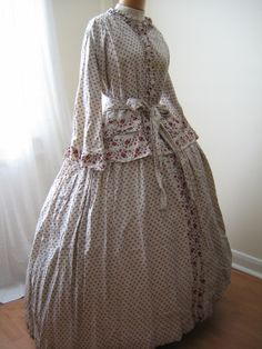 1850s maternity dress - printed cotton