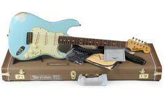 Guitare Electrique FENDER CUSTOM SHOP 1963 HEAVY RELIC STRATOCASTER DAPHNE BLUE R71571 ...