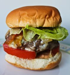 Bacon Blue Cheese Burger with Caramelized Onions - Adventures in Cooking
