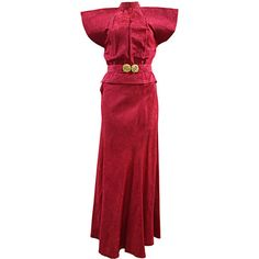 c6a04be2f View this item and discover similar chinese dresses for sale at - Stunning  Raspberry Satine Rayon post WWII Asian inspired Paku Mumu Hostess Lounge  Dress.