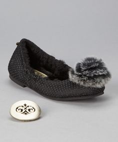 These remind me of Tinkerbell ' s shoes..only black! Love this Black Dot Bella Flat - Women on #zulily! #zulilyfinds