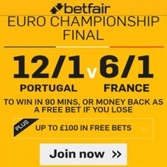 Betfair Promotion Codes for 12/1 Portugal v 6/1 France to win in the Euro 2016 Final plus money back if you lose and a free £100 bet bundle. A No Risk No Lose Bet on 12/1 Portugal v 6/1 France to win with a free £100 bet bundle. Betfair Promo Code to claim a free sports bet at Betfair exclusively from here only for Euro 2016 Final 12/1 Portugal v 6/1 France to win . Betfair Promotion Codes & Betfair Promo Code for free international football and Euro 2016 match Bets. New customers also bet…