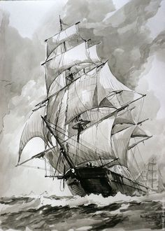 sailing ship (clipper), ink drawing based on . - sailing ship (clipper), ink drawing based on … - Sailboat Art, Sailboat Painting, Sailboats, Boat Drawing, Drawing Base, Pirate Ship Drawing, Croquis Architecture, Pirate Ship Tattoos, Old Sailing Ships