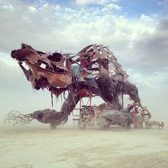 #BurningMan: dino contraption will stomp your home. Yay!