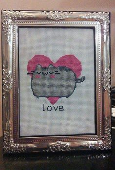 Framed Lovely Pusheen Cross Stitch