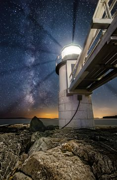 The Milky Way rises vertically beyond the tower at Marshall Point Lighthouse in Port Clyde, Maine. Photographed August 5, 2013.