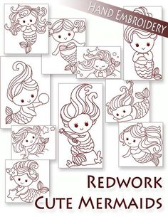 Cute Mermaids Redwork Hand Embroidery 10 patterns