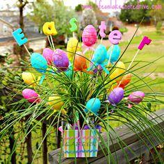 Easter Egg Spring Decor Arrangement, tutorial, diy, Easter, eggs, centerpiece