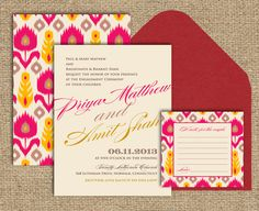 Items similar to Indian Wedding Invitation: The Ikat Collection - A Textile Pattern Inspired on Etsy Invitation Card Design, Invitation Set, Invites, Wedding Cards, Diy Wedding, Wedding Ideas, Dream Wedding, Trendy Wedding, Wedding Decor