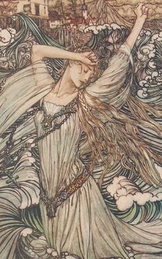 """Detail from an illustration by Arthur Rackham for """"Undine"""" (1909). Antique Tipped In Art Print #Antique"""