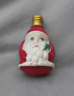 Vintage Figural Glass Christmas Santa Light Bulb in lights and bulbs Antique Christmas Decorations, Vintage Christmas Lights, Christmas Light Bulbs, Christmas Past, Red Suit, Lightbulbs, Lamp Light, 1980s, Father