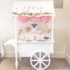 Christening cart for Ita Candy Bar Party, Candy Table, Candy Buffet, Birthday Wall, Tea Party Birthday, Candy Cart Hire, Candy Stand, Sweet Carts, Sweet Buffet