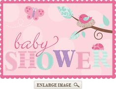 Pink, purple and orange Tweet Baby Girl Invites have 8 per package