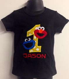 Personalized Elmo & Cookie Monster Combo Birthday Design- Yellow Dot