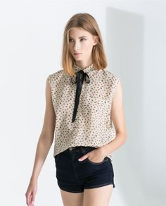 ZARA - TRF - FLORAL SHIRT WITH CONTRASTING BOW