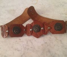 Pure leather belt, boho sienna 80's, handmade with studs. Hippie chic gipsy high waist belt, Italian manufacturing