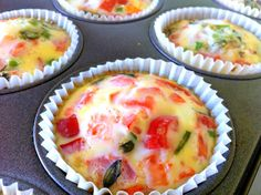 Quick, High Protein Breakfast idea: Clean egg muffins!  Delicious and quick. I cooked up some spinach, green onions, and tomatoes. Cut up some ham. Mixed it with 3 eggs and lots of egg whites. Perfect with a bowl of oatmeal to start of the day.