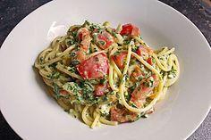 Nudeln mit Spinat, Schafskäse und Tomate (Rezept mit Bild) | Chefkoch.de
