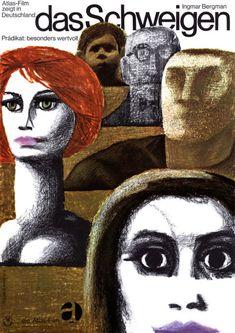German poster for THE SILENCE (Ingmar Bergman, Sweden, 1963)  Artist: Dorothea Fischer-Nosbisch (b. 1927)  Poster source: MoviePosterDB