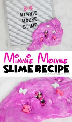 Simple slime recipe that is soft and perfect for this Minnie Mouse Slime! This Minnie Mouse slime is a perfect sensory activity for kids!