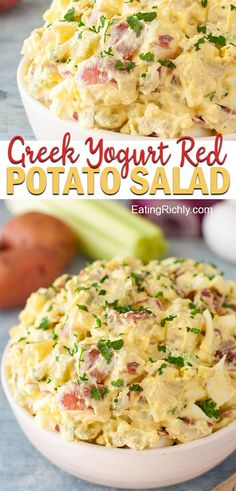 red potato salad recipe lightens up a classic potato salad with Greek yogur. - -This red potato salad recipe lightens up a classic potato salad with Greek yogur. Red Potato Recipes, Potato Salad Recipe Easy, Potato Salad With Egg, Easy Salad Recipes, Healthy Recipes, Red Potato Salads, Thm Recipes, Skinny Recipes, Healthy Meals