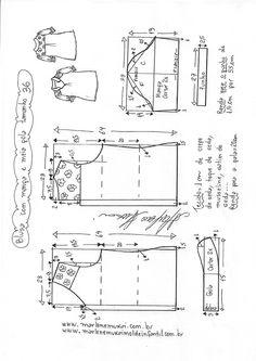 Sewing Blusas Blusa manga fofa e meia gola T Shirt Sewing Pattern, Dress Sewing Patterns, Blouse Patterns, Sewing Patterns Free, Free Sewing, Clothing Patterns, Sewing Blouses, Sewing Shirts, Costura Fashion