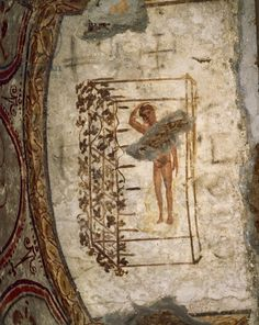 Youth, trellis and vines, 3rd-5th century AD (fresco). Roman. Possibly a boy gathering grapes; Catacombe dei Giordani, via Salaria; Catacomb of the Giordani, Rome, Italy