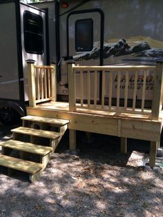 My Camper Deck Projects To Try Rv Tr with sizing 2048 X 1536 Rv Stairs And Decks - The ways to develop patio decking? Building a wood deck correctly can Campsite Decorating, Rv Decorating, Trailer Deck, Porch For Trailer, Fifth Wheel Living, Rv Homes, Deck Stairs, Diy Rv, Diy Camper