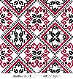 Ethnic Ukrainian geometric broidery in hues of black and red on the light pink background, seamless vector pattern; compre este vectores en stock en Shutterstock y encuentre otras imágenes. Cross Stitch Geometric, Geometric Embroidery, Folk Embroidery, Modern Cross Stitch, Cross Stitch Charts, Cross Stitch Designs, Cross Stitch Embroidery, Cross Stitch Patterns, Christmas Embroidery Patterns