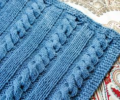 Cables and Columns Knit Blanket Pattern | www.petalstopicots.com | #knit #afghan #cable #blanket