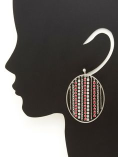 Pink Tropical Open Oval & Chain Drop Earrings by Swarovski Jewelry at Gilt