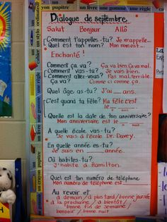 Basic beginning of the school year introduction questions and answers for kids. for Dialogue de spetembre French Teaching Resources, Teaching Activities, Teaching French, Classroom Activities, Classroom Organization, Teaching Ideas, Communication Orale, French Language Learning, Foreign Language